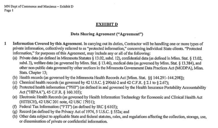 Exhibit D Data Sharing Contract For Mn Exchange Citizens Council