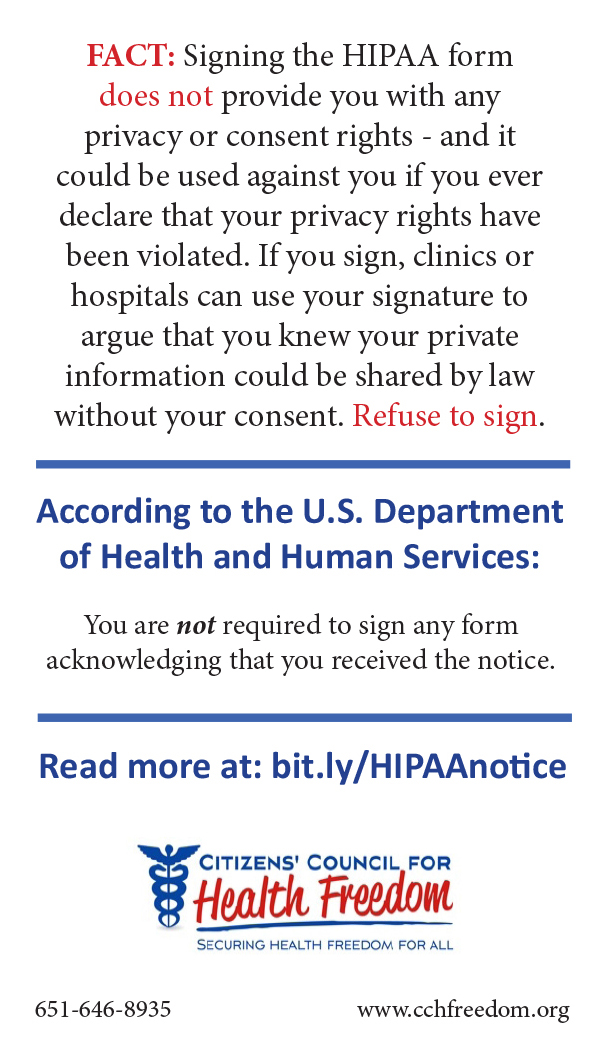 Hipaa Info Wallet Card: Citizens' Council For Health Freedom