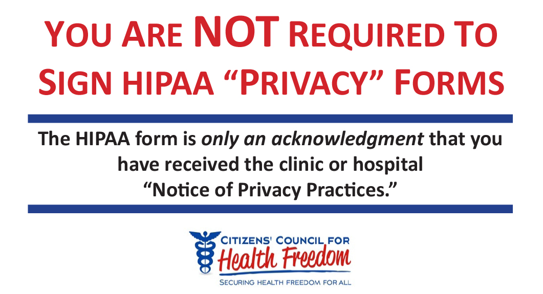 Health Privacy Alert Citizens Council For Health Freedom