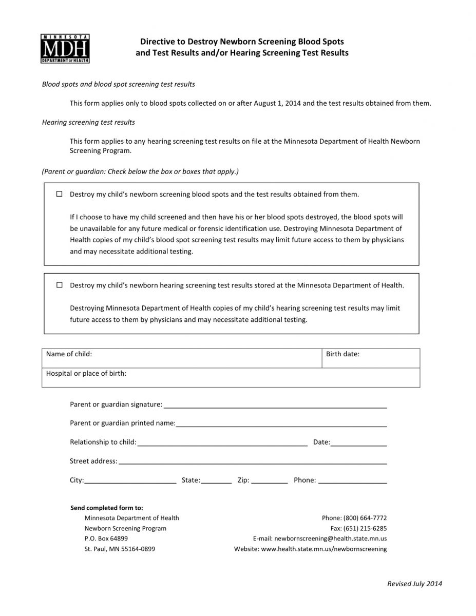 Form To Send To Mdh To Request The Destruction Of Your Newborn's Blood  Spots And Test Results: