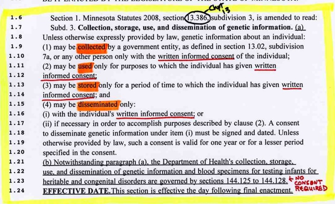 Genetic Privacy repeal language screenshot