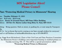 'Protecting Medical Privacy in Minnesota' Hearing