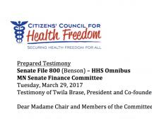 CCHF Testimony on SF 800 (Benson) - HHS Omnibus