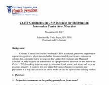 CCHF Comments on CMS Request for Information - Innovation Center New Direction