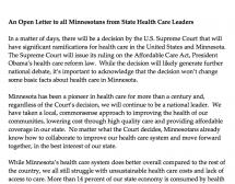 An Open Letter to all Minnesotans from State Health Care Leaders