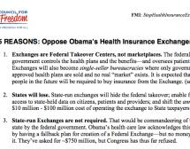 15 REASONS: Oppose Obama's Health Insurance Exchanges (HIX)