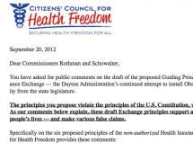 CCHF's Comments on Guiding Principles for the MN Health Insurance Exchange